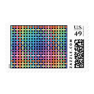 crossed pattern postage stamps