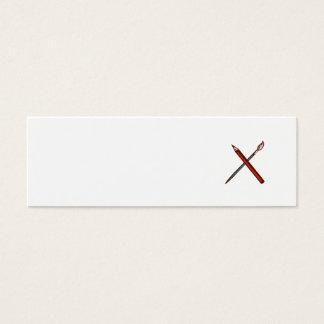 Crossed Pencil Artist Brush Retro Mini Business Card