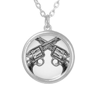 Crossed Pistol Gun Revolvers Vintage Woodcut Style Silver Plated Necklace