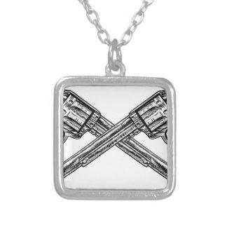 Crossed Pistol Guns Silver Plated Necklace