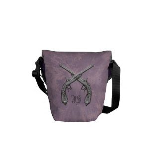 Crossed Pistols Amethyst  Personalized Mini Messenger Bag