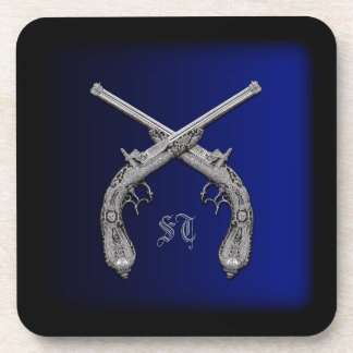 Crossed Pistols Personalized Square Coasters