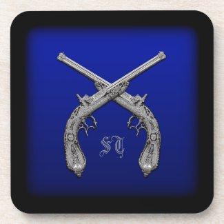 Crossed Pistols Personalized Square Coasters