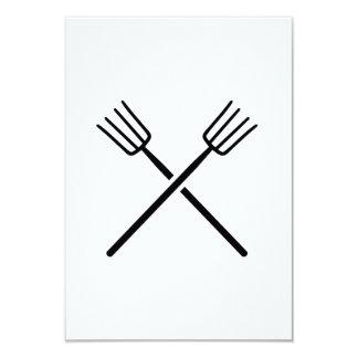 Crossed Pitchforks 3.5x5 Paper Invitation Card