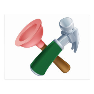 Crossed plunger and hammer tools postcard