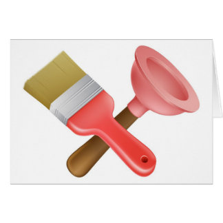 Crossed plunger and paintbrush tools greeting cards