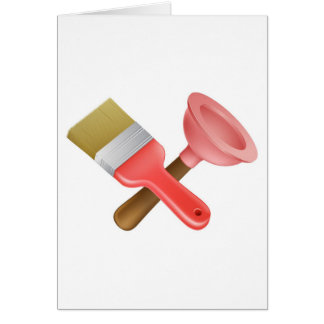 Crossed plunger and paintbrush tools card