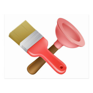 Crossed plunger and paintbrush tools postcards