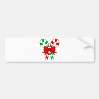 Crossed Red and Green Candy Canes Tied with Bow Bumper Sticker