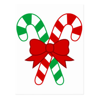 Crossed Red and Green Candy Canes Tied with Bow Postcard