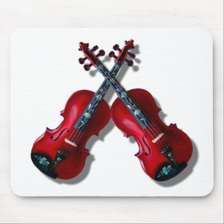 CROSSED RED VIOLINS -MOUSEPAD MOUSE PAD