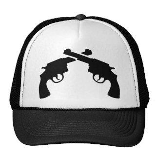Crossed revolver trucker hats