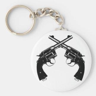 Crossed Revolvers Keychain