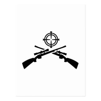 Crossed rifles crosshairs postcard