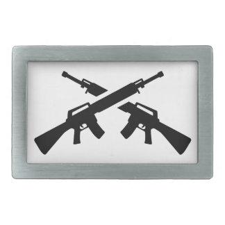 Crossed rifles rectangular belt buckle