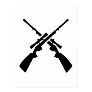 Crossed rifles weapons postcard