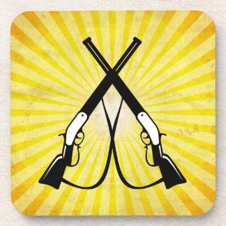 Crossed Rifles; yellow Beverage Coaster