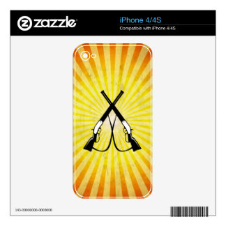 Crossed Rifles yellow Skin For iPhone 4S