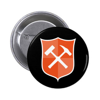 Crossed Rock Hammer Shield Button