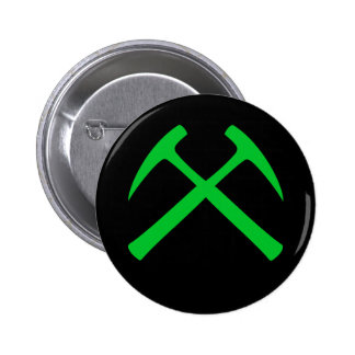 Crossed Rock Hammers Button