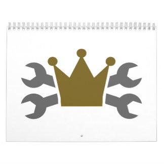 Crossed screw wrench crown calendar