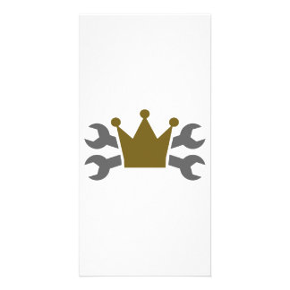 Crossed screw wrench crown photo card
