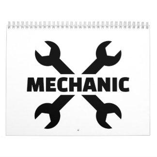 Crossed screw wrench mechanic calendar