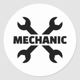 Crossed screw wrench mechanic sticker