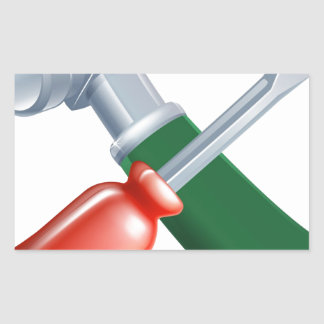 Crossed screwdriver and hammer tools rectangle stickers