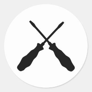 Crossed Screwdriver tools Round Sticker