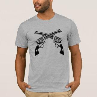 Crossed Six Shooter Guns gray fitted mens tshirt