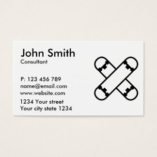 Crossed skateboards business card