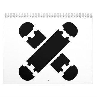 Crossed skateboards calendar
