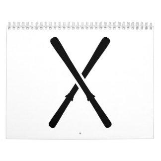 Crossed ski calendar