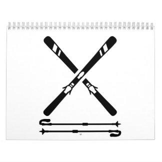 Crossed ski equipment calendar