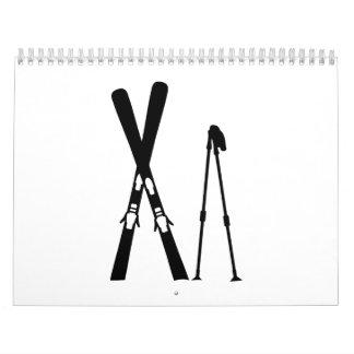 Crossed ski sticks calendar