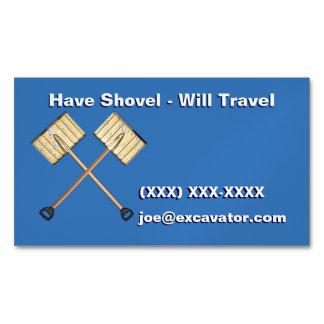Crossed Snow Shovels Business Card Magnet