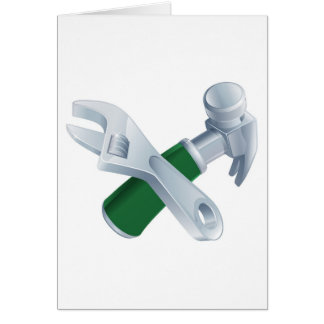Crossed spanner and hammer tools card