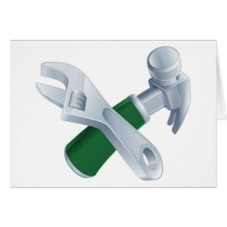 Crossed spanner and hammer tools greeting card