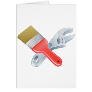 Crossed spanner and paintbrush tools greeting card