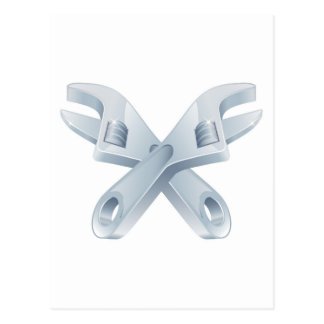 Crossed spanners tool icon post card