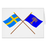 Crossed Sweden and Blekinge län flags Cards