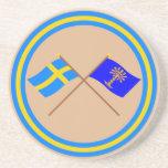 Crossed Sweden and Blekinge län flags Beverage Coasters