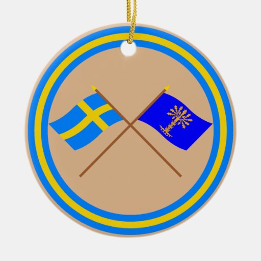 Crossed Sweden and Blekinge län flags Ornament