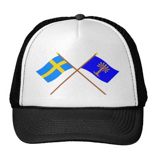 Crossed Sweden and Blekinge län flags Trucker Hat