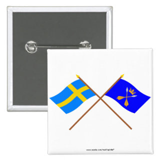 Crossed Sweden and Dalarnas län flags Pinback Button