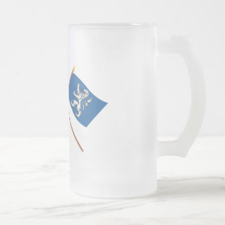 Crossed Sweden and Hallands län flags 16 Oz Frosted Glass Beer Mug