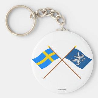 Crossed Sweden and Hallands län flags Basic Round Button Keychain