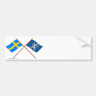 Crossed Sweden and Hallands län flags Car Bumper Sticker