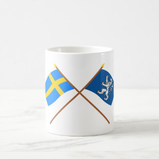 Crossed Sweden and Hallands län flags Classic White Coffee Mug